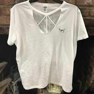 Victoria Secret Pink Campus Crew with cut out neck